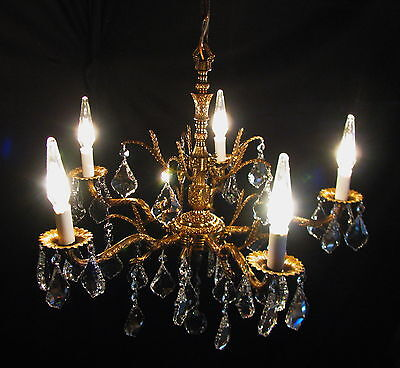VTG DECO FRENCH CAST BRASS 32% LEAD CRYSTALS CHANDELIER CEILING FIXTURE 1950's