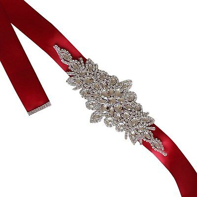 Changuan Crystal Sashes for Wedding, Bridal Belts and Sashes, Wedding Belt Red