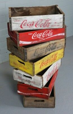 Coca Cola Retro Vintage Wood Fruit Crate Wooden Storage Box Tray Antique
