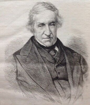 The Late Lord Broughton, Antique Print 1869 Original