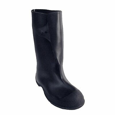 Work Brutes PVC 10-Inch Overshoe with Button, Medium, Black