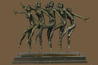 Bronze Sculpture Statue Museum Quality Group of Dancer Marble Base Figurine BC