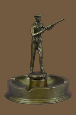 Bronze Sculpture Statue 100% Signed Handmade Ashtray Hunter Man Bar Gift BC