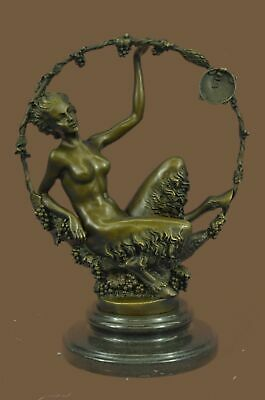 Bronze Sculpture Statue Deco Fantasy Satyr with Nude Nymph Marble Base FigurBC