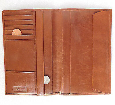 Real calf leather wallet credit card holder men ladies Good quality vintage big