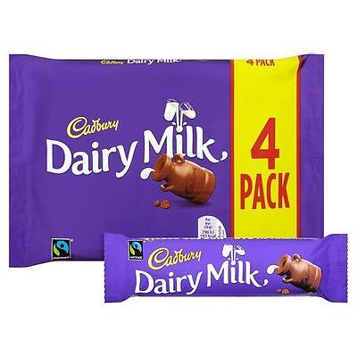 Cadbury Dairy Milk (4 x 32.5g Chocolate Bars) 130g