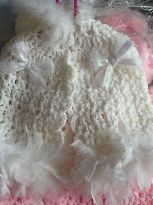 Baby Girls WHITE HANDMADE  CHRISTENING CAPE WITH BOWS AND FULL FUR TRIM PRINCESS