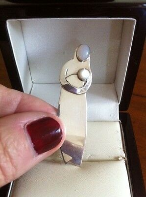 Genuine Unique Sterling Silver 925 Moonstone Woman & Baby Child Brooch Pin