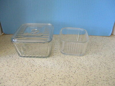 "2-1940's GLASS REFRIGERATOR JARS, SQUARE, 1 LID FOR LARGE JAR, ""RIBBED FEDERAL"""