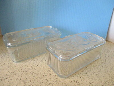 "2-1940's GLASS REFRIGERATOR JARS+ LIDS, RIBBED ""FEDERAL"" GLASS, 8"" X 3.5"" X 2.5"""