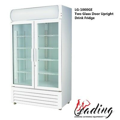 NEW Large Two Glass Door White Colourbond Upright Drink Fridge (1000 Litre)