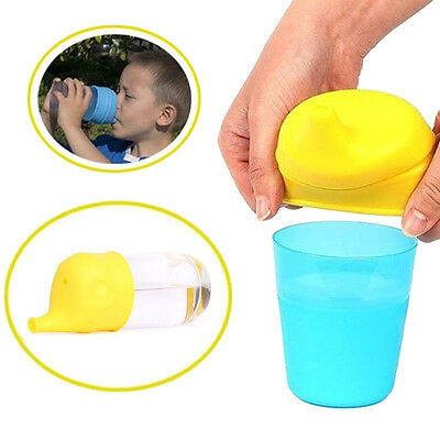 CO_ Elephant Suction Cup Cover Kid Silicone Sippy Lids Suck Bottle Trainingcup V