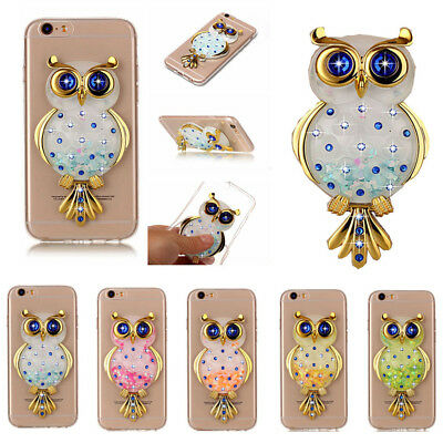 3D Cute Owl Ultra-thin Bling Quicksand Stand TPU Case Cover For Various Phones