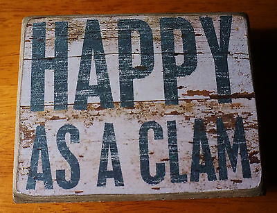 HAPPY AS A CLAM Seafood Restaurant Nautical Beach Coastal Home Decor Sign NEW