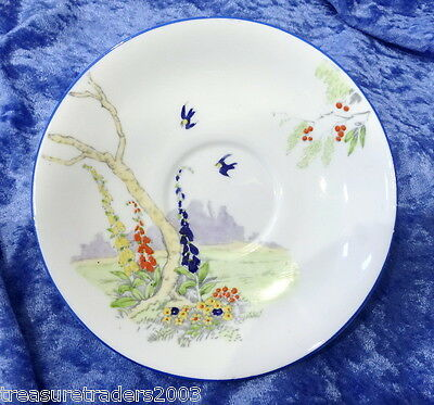 🌟vintage Hand Painted Orphan Saucer ' Ailsa '  Blue Birds Hollyhocks Salisbury