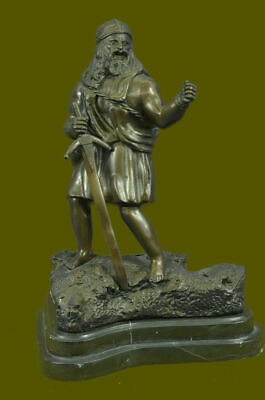 Sign Chris Miles Viking With Sword Warrior Figurine Sculpture Statue Bronze BC