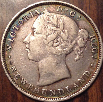 1888 Nfld Newfoundland Silver 20 Cents Twenty In Great Condition !