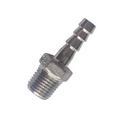 """1/8"""" BSPT Male Fitting x 6mm ID Barb Hose Tail Connector Stainless Steel 304"""