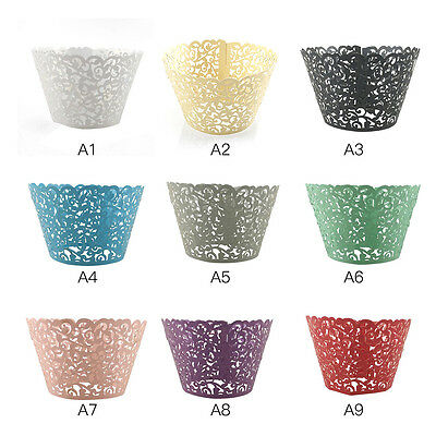 50pcs Filigree Little Vine Lace Laser Cut Cupcake Wrapper Liner Baking Cup AU
