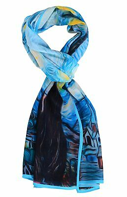 Salutto Women 100% Silk Scarves Van Gogh Starry Night Painted Scarf 1