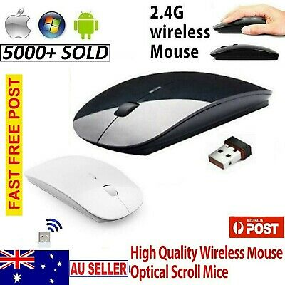 New 2.4GHz Wireless Mini Optical Sensor Mouse for All Laptop PC Black Aus