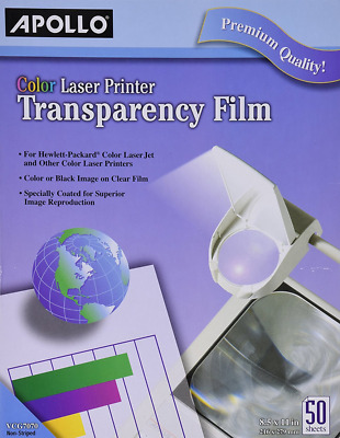 Apollo Color Laser Printer Transparency Film without Sensing Stripe, 8.5 x 11 In