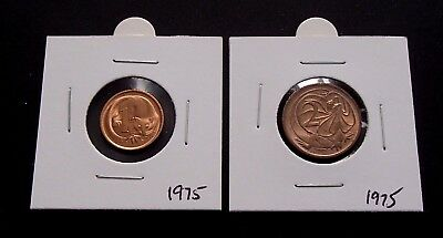 1975 Australia 1 Cent & 2 Cent Uncirculated Coins in 2 x 2 Holder  - 536a