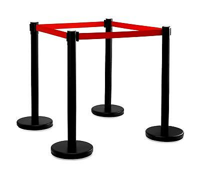 4x Barrier Posts Crowd Control Disco Airport Security Divider Queue Band Black