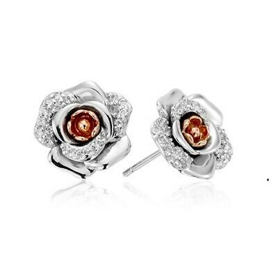 New Genuine Clogau Sterling Silver/9ct gold  Moonlight Rose earrings 3SRME £189