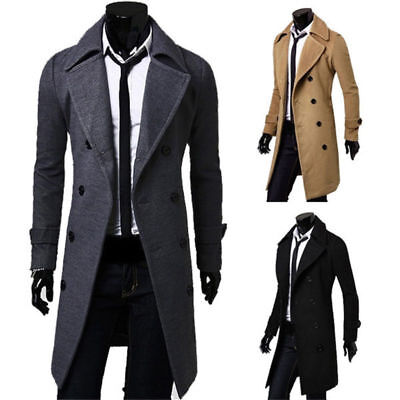 UK Mens Trench Coat Slim Fusion Thick Double Breasted Jacket Warm Fit Overcoat