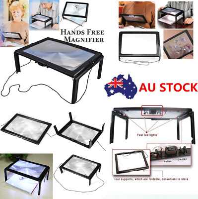 Foldable Magnifying Glass Lens A4 Size Desk 3X Magnifier 4 LED For Reading Book