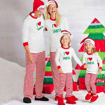 U.S.A Family Matching Christmas Pajamas Set Women Baby Kids Sleepwear Nightwear
