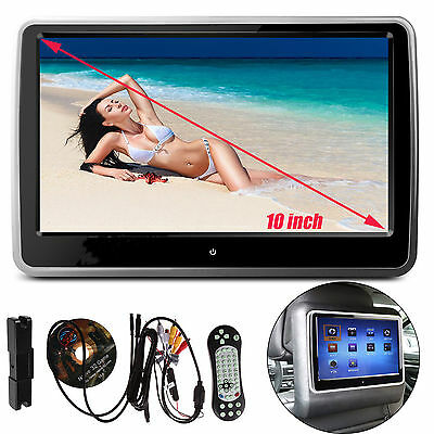 "10"" HD Digital TFT LCD Screen Car Headrest Monitor DVD/USB/SD Player IR/FM Game"