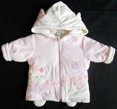 Baby girl coat velour hooded pink Ivory 3 month