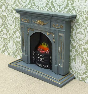 1:12 Dolls House Large grey and Gold Fireplace