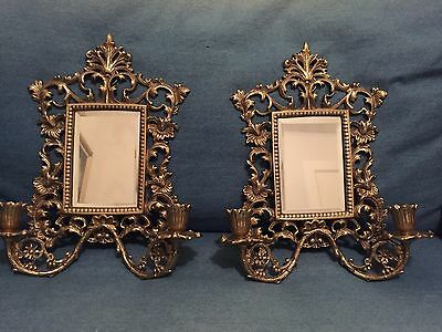 Pair Of Victorian Gothic Antique Bronze Mirror Wall Sconces