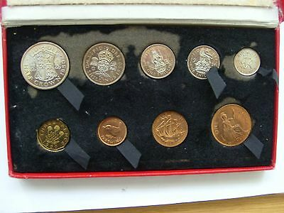 1950 9 Coin Proof Year Set In Original Red Box. Free P & P