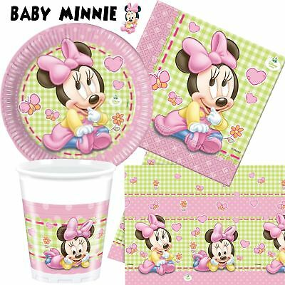 Disney Baby Minnie Mouse Party Tableware 1st Birthday Baby Shower Girls Pink