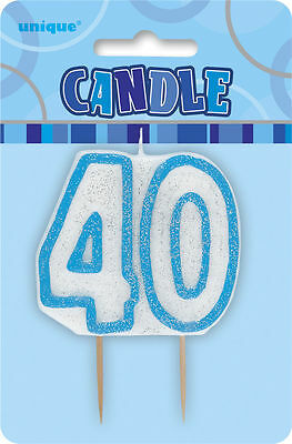 Glitter Birthday blue Numeral Candle 40TH Party Supplie Decoration Accessories