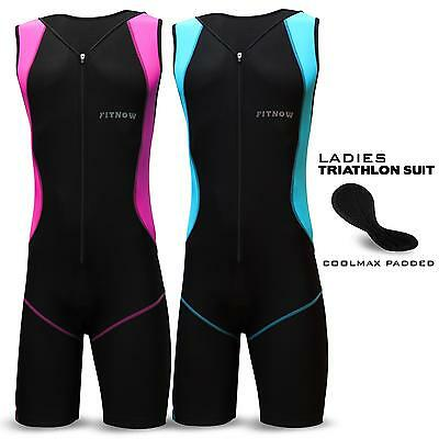 Ladies Triathlon Suit Padded Tri Swimming Yoga Cycling Running Fit Suit
