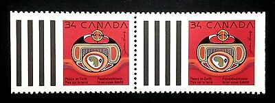 Canada #1297 MNH, Christmas Native Nativity Booklet Pair of Stamps 1990