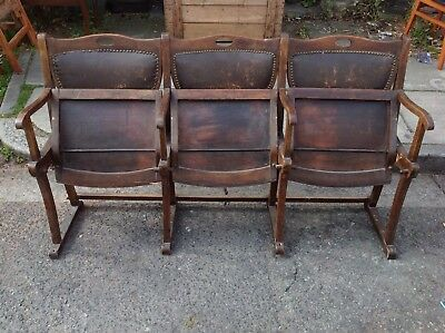 Vintage early 20th century theatre seats, antique cinema seating, french wooden