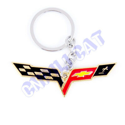 3D Gold Car Key Ring Key Chain for Chevrolet Corvette C5 C6 C7 Z06 ZR1 Universal