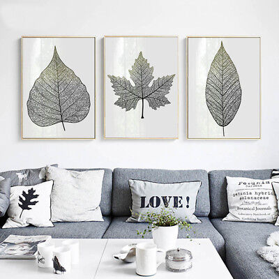 Black White Plants Leaves Abstract Canvas Poster Art Prints Picture Home Decor