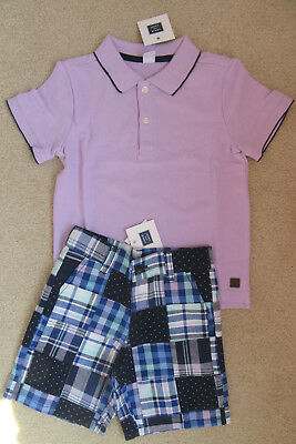 NWT Janie and Jack Boardwalk Summer Lilac Polo Shirt/Patchwork Shorts 5 6 7 8 10