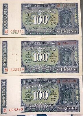 OLD INDIA~100 RUPEE NOTE HAVING IMAGE OF 1977 - 1982 - 3 old bills