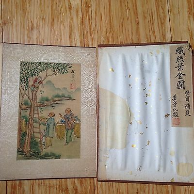 Rare 1933 Chinese Illustration Album Silkworm to Silk Cloth Hand-Painted-Signed