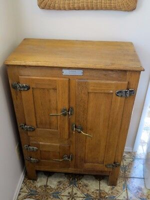 """Antique Ice Box - Solid Wood -  Vintage model """"Jewel"""" by Steinfeld in New York"""