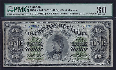 1878 Dominion of Canada $1 Payable at Montreal - S/N: 290897/A (Cat#8e-iii-M)