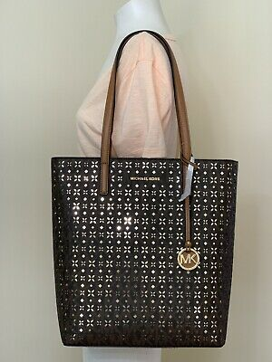 f20fd22d25f3 Michael Kors Hayley Large NS Top Zip Tote brown Gold perforated floral bag